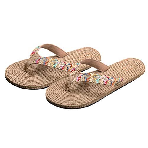 Holibanna Zapatillas Bohemias de Verano Elegantes Suelas de Paja Tejidas Chanclas de Playa Zapatillas Antideslizantes para Niña Mujer Señora Señora