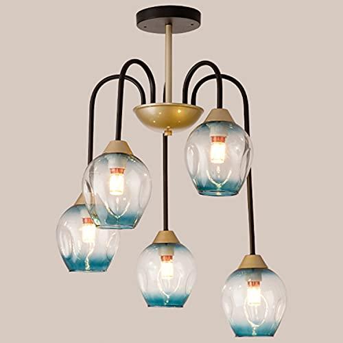 Lámpara araña moderna y sencilla fabricada en metal y cristal, lámpara colgante LANTING tipo flor redonda, para salón dormitorio lámpara comedor, llama E27x5 (sin bombilla) Ø55xH65cm 40W,Down