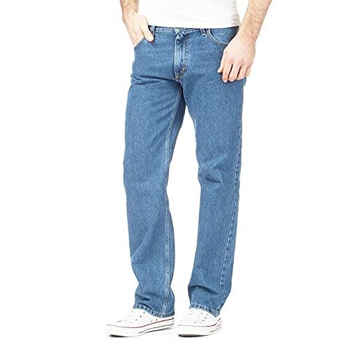 MyShoeStore - Jeans da uomo, in cotone, tinta unita, gamba dritta, resistente, con chiusura a zip, pantaloni da tasca Azzurro 30 EU
