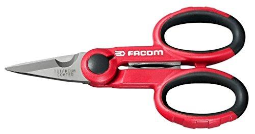 Facom 841A.4 Tijera de Electricista con Vaina, Rojo