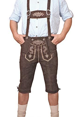 LEDERHOSE Kniebund Braun Trachten leather trousers SMARTPHONE TASCHE Gr 52 KNHC1