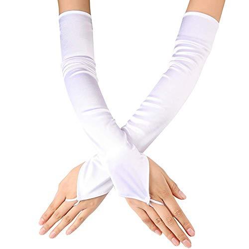 Ksnrang Ksnrang Damen Lange Handschuhe Satin Classic Opera Fest Party Hochzeit Braut Handschuhe 1920er Stil Handschuhe Elastisch Erwachsene Größe bis Handgelenk Länge (50cm-weiß)