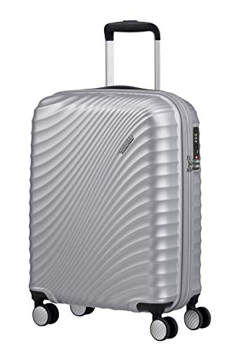 American Tourister Jetglam Spinner S Equipaje de Mano, 55 cm, 35.5 L, Plata (Metallic Silver)