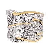 Hyhy - Anillo de Boda con Diamantes de imitación, Aleación, Dos Colores, 21 mm