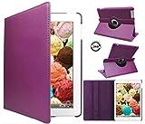 ipad 4 Generation case Rotating ipad 3 ipad 2 case for Ipad Model A1458 A1430 A 1416 Md510ll /A Mc979ll/A with Screen Protector Stand Smart Covers Support Wake/Sleep Function (Purple)