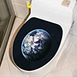 Kids Wall Decals Earth from Outer Space Scenery of Globe Light Years Orbit Discovery Artprint Dark Removable Sticker Wall Art Decal for Home Office Living Room Wall Bathroom Toilet, W12xH14 INCH