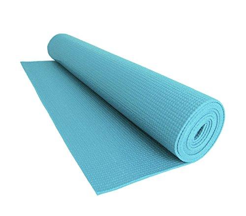 mws Tappeto 173x61cm Comfort per Yoga Fitness e allenamenti Sport Spessore 0,4mm Antiscivolo (Celeste)