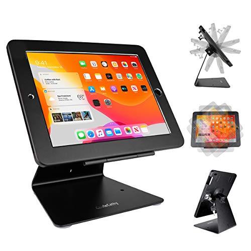 "CarrieCathy iPad Desktop Anti-Theft Security Kiosk POS Stand Holder Enclosure with Lock & Key for Tablets iPad 2,3,4, iPad air, iPad air 2, iPad Pro 9.7"", iPad 2017 & 2018, Flip & Rotate Design, Black"