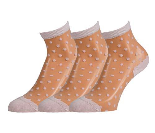 Disée 3 Paar Feinsöckchen Damen Strümpfe rosa transparent Punkte Socken mit Ferse & Zehenkappe, Size:35-38, Farben:veiled rose