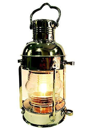 Vintage Messing Elektrische Lampe Maritim Schiff Laterne Boot Licht Dekoratives Licht 38,1cm