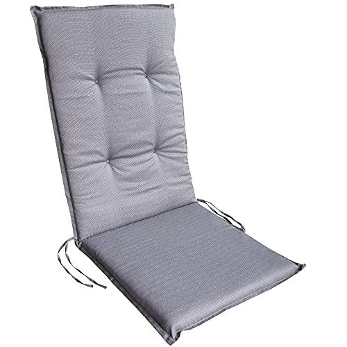DILUMA   Hochlehner Auflage Rhodos 116x48 cm Grau   Sitzauflage mit 5,5 cm Polster   Polsterauflage für Gartenstühle   Strukturgewebe aus 100% Baumwolle
