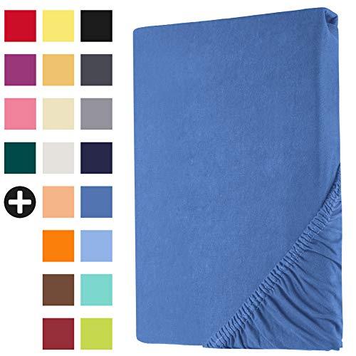 Heim24h® Drap-Housse revêtement Matelas Bleu Royale 140x200-160x200 cm d'une Hauteur de 18 à 30 cm 100% Coton Qualité Supérieur Extensible Respirant et Doux