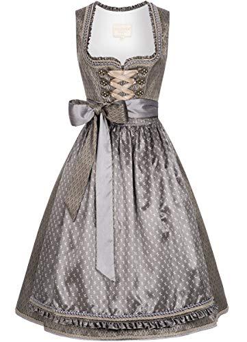 Krüger-Collection Damen Trachten-Mode Midi Dirndl Carmen in Grau traditionell, Größe:38, Farbe:Grau