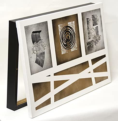 Cuadroexpres - Caja para Tapar Cuadro de Luces Dorado y Negro 30x45x4 cm (Interior) Caja Decorativa para Cuadro Eléctrico. En Melamina Negra. Cierre de imán y Tornillos para Fijar en la Pared.