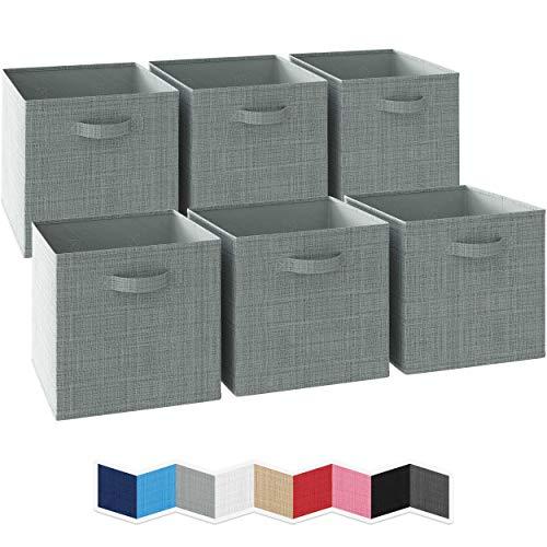 NEATERIZE Ordnungsbox 33x33x33-6 Boxen Aufbewahrung Set   Faltboxen Mit Zwei Tragegriffen   Faltbare Kallax Boxen   Extra Stabile Stoffbox Als Kallax Einsatz   Kisten Aufbewahrung [Grau]