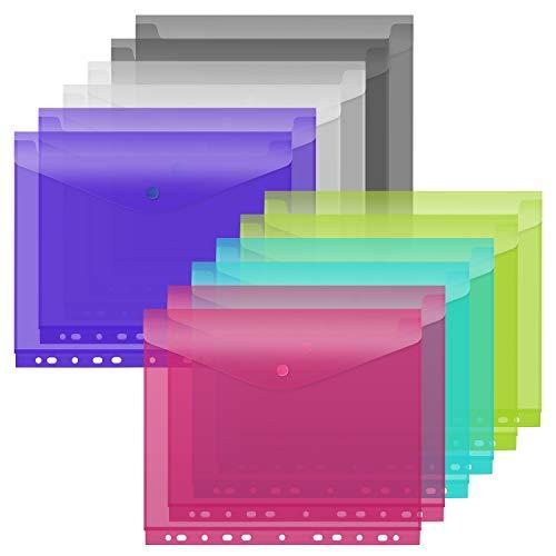 Clear Binder Pockets(6 Colors, 12-Pack), 11-Hole Punched, Loose-Leaf Pockets for 3-Ring Binders, Translucent Document Envelope Folder Project Pockets