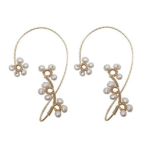 LASD 1 Pair Vintage Ear Cuff Earrings Wrap Around Ear Wrap Crawler Hook Earrings for Women Girls (Gold)