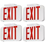 TORCHSTAR LED Exit Sign, Emergency Exit Light with Battery Backup, Double Face, UL 924, AC 120/277V, Damp Location, Hardwired Red Letter Exit Lights for Business, Pack of 4