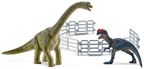 3in1-SET Schleich Dinosaurier - Brachiosaurus VS Dilophosaurus mit Gatter 14581 + 14567 + 42487