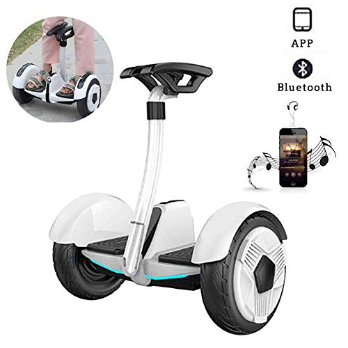 """LMM Electric Scooter,10"""" Self Balancing Scooter Two Wheel Smart Self Balance Scooter 700W Motor with Led Flash Wheels, Built in Bluetooth Speakers Best Gifts for Kids,Black,White (Color : White)"""