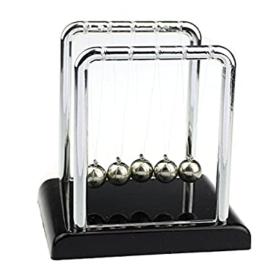 Newdiva Newtons Cradle Balance Balls - Science Physics Pendulum Gadget with Authentic Wooden Base Metal Balls For Desk Toy,Office Toys, Physics Toys, Teacher Toys, Steel Ball Toy by Newdiva