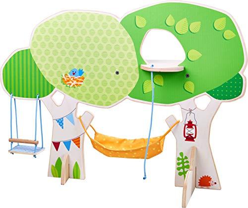 Haba 303886 Little Friends – boomhuis | met schommel, hangmat, borduurladder en speelplatform | leuke aanvulling voor de Little Friends speelwereld
