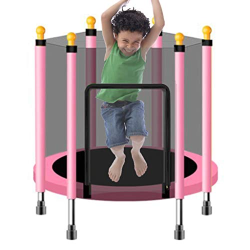LXXTI Trampoline for Kids Indoor, Kids Trampoline with Safety Enclosure Net And Frame Cover, Trampoline for Children Jumping Training Indoor Outdoor Activities,Pink,140cm/55inch