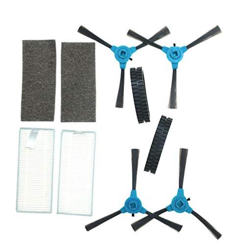 Pack Accesorios 4x Cepillos laterales x2 Filtros x2 Neumáticos para Cecotec Conga 990 VITAL. Recambios Robot Aspirador