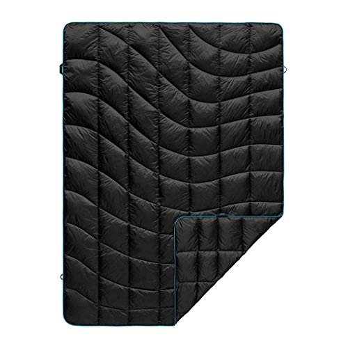 Rumpl The Down Blanket | Outdoor Down Camping Blanket for Traveling, Picnics, Beach Trips, Concerts | Black/Cyan, Throw (Last Season)