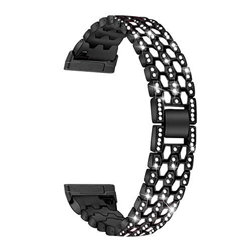 XIALEY Correa Compatible con Fitbit Versa 3 / Sense, Mujeres Niñas, Correas De Diamantes De Imitación con Purpurina, Pulsera De Repuesto, Pulsera De Metal, Compatible con Versa 3 / Sense,Negro