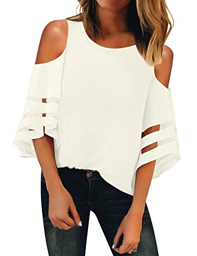 LookbookStore Summer Cold Shoulder Tops for Women Cute Going Out Tops Beige Crewneck Mesh Panel Blouse 3/4 Bell Sleeve Loose Tops Shirt Size S
