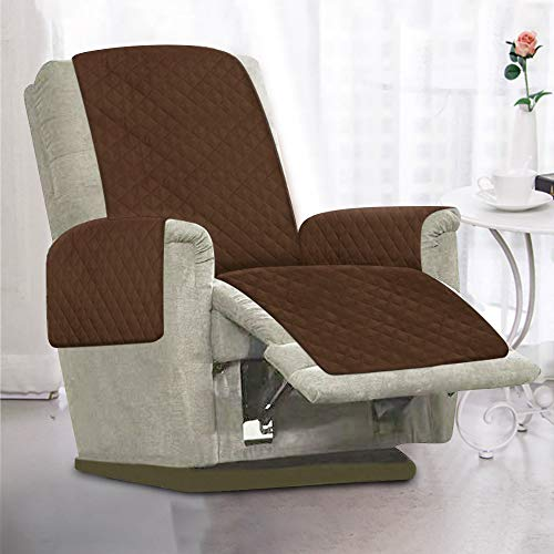 Littleduck Sesselschoner Relaxsessel Sesselauflage Relax,Sofaüberwurf 1 Sitzer Sesselschutz mit 2,5 cm Breiten verstellbaren Trägern (Braun)