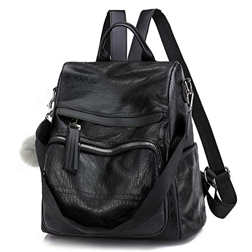 COOFIT Backpack Purse for Women,Fashion Anti Theft Backpack PU Leather Convertible Shoulder Bag Black Womens Backpack Purse