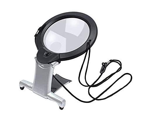 NEEZ - Lente d'ingrandimento con luce LED gigante lente di ingrandimento per lettura a mani libere (lente di ingrandimento collo e scrivania)
