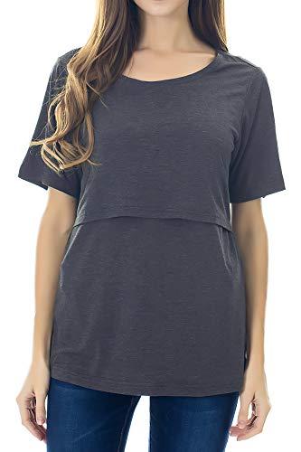 Smallshow Stillshirt Umstandstop T-Shirt Umstandsmode Umstandsshirt Schwangerschaft Kleidung Mutterschafts Kurzarm Shirt, Dunkel Grau, M