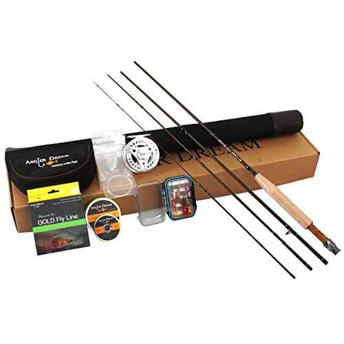 ANGLER DREAM Caster 8WT Fly Fishing Combo 30T Carbon Fiber Fly Rod 3/4 5/6 7/8WT CNC Machined Fly Fishing Reel with Line Kit Starter Fishing Rod Combo