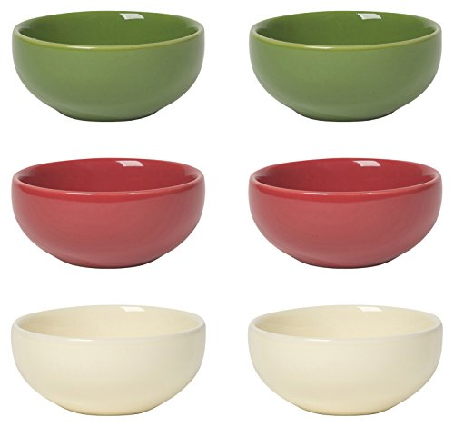 Now Designs L46002 Pinch Bowls (Set of 6), Holiday Colors