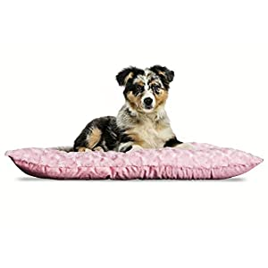 Furhaven Pet Dog Bed Kennel Pad – Ultra Plush Curly Faux Fur Crate or Kennel Mat Tufted Pillow Cushion Pet Bed for Dogs and Cats, Strawberry, Medium