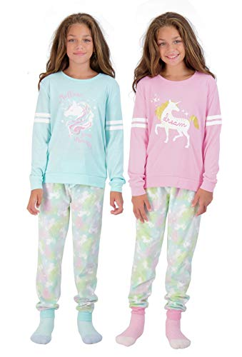 Sleep On It Girls 6-Piece Long Sleeve Jersey & Fleece Pajama Set with Socks (Pink/Light Blue Unicorn, Medium (10/12))