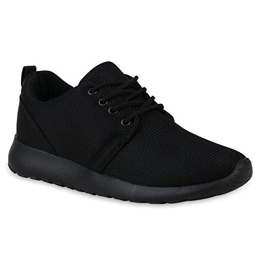 Stiefelparadies Mujer Zapatilla de Deportes Zapatilla de Footing Suela Dentada 132207 Negro Negro 39 Flandell