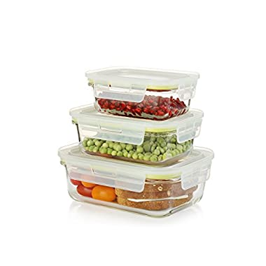 Komax Oven Safe Glass Food Containers – Microwave & Freezer safe - Airtight Storage with Snap Locking Lids - 6 Piece Set - BPA-FREE