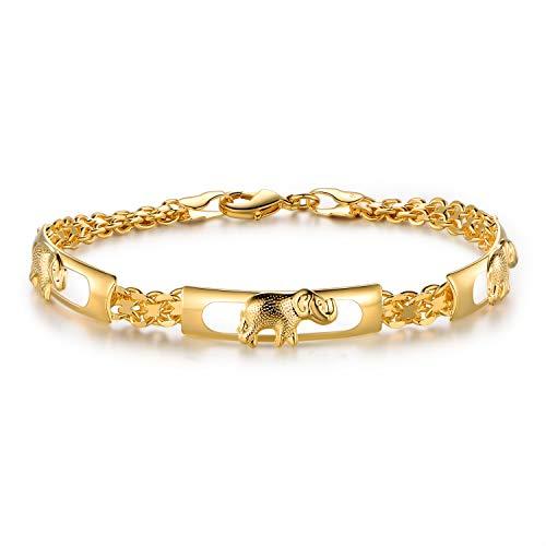 Barzel 18K Gold Plated Elephant Bracelets Elephant Gifts For Women Elephant Jewelry (Gold BR158)