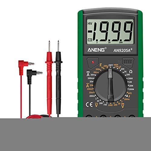 /G DT9205A + Digitalmultimeter AC/DC-Profi-Transistortester Elektrischer Multimetro-NCV-Testmesser Auto Range Ture RMS - Grün