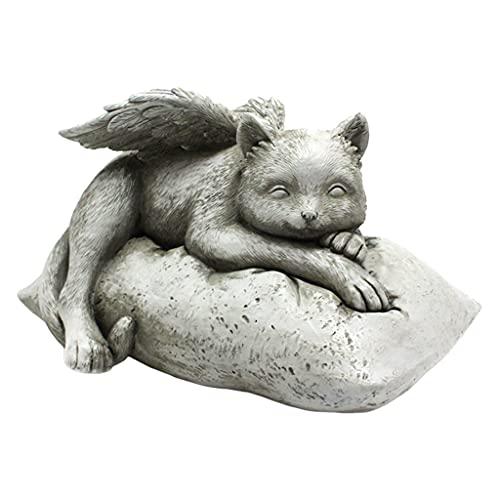 Nobranded Chat avec des Ailes Jardin Statue, Décoratif Don Commémoratif, Extérieurs pour La Maison Figurine Décor, Hommage Ornement Jardin Décoratif Ornement