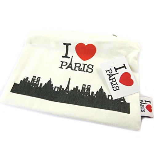 Les Trésors De Lily [P1136] - Trousse Plate 'I Love Paris' Blanc Rouge - 20.5x14x0.5 cm