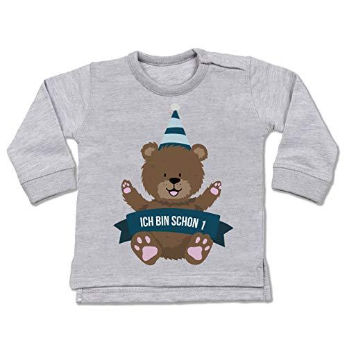 Geburtstag Baby - Ich Bin Schon 1 Bär - 12/18 Monate - Grau meliert - t Shirt 1 Jahre - BZ31 - Baby Pullover