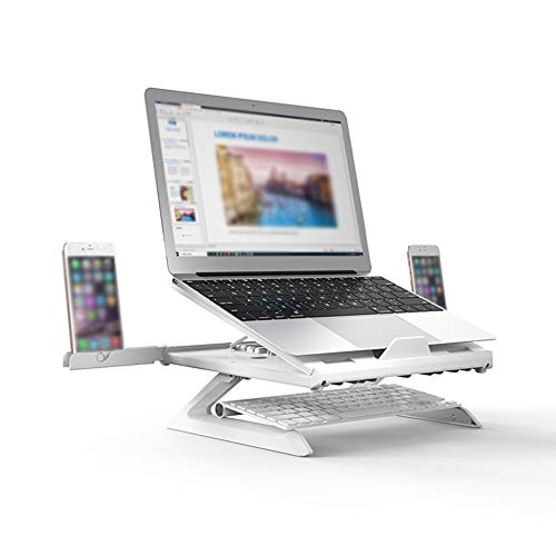 Laptop Stand, Notebook Stand: Universal PC Holder, Built-in Foldable Legs And Phone Holder, 9-Adjustable Height Laptop Riser, Folding Holder, For Dell, HP, Samsung, Lenovo All 10'~17' Notebooks,White