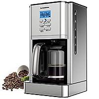 macchina caffe,bonsenkitchen macchina caffe americano 1000watt,caffettiera americana digitale automatica con timer e display 1.8l, fino a 12 tazze, acciaio inox