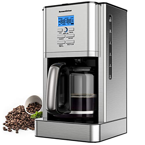12 Cup Programmable Stainless Steel Drip Coffee Maker Machines Built in Hot Preservation Board Coffee Pot with Glass Carafe Permanent Filter Basket 60 Oz