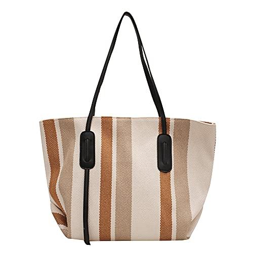 Bolsos de compras del bolso de la impresión de las rayas, marrón claro, 33 EU